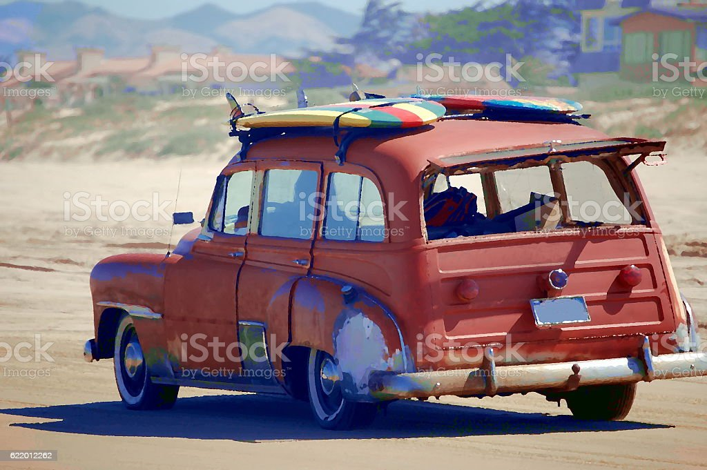 Surfer Dude Car stock photo