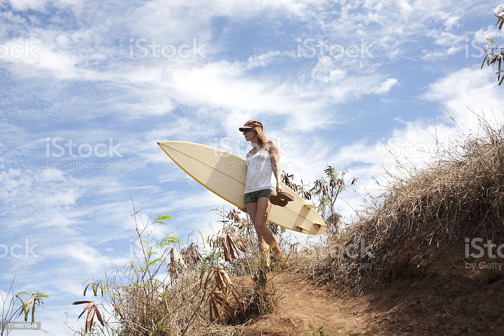 surfer girl at beach stock photo
