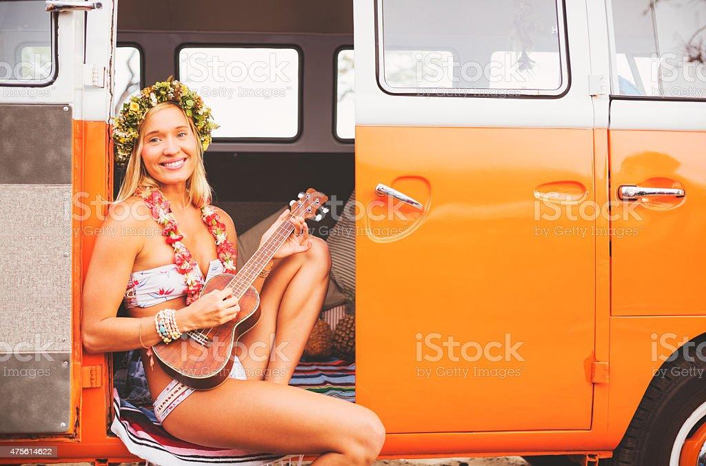 Surfer Girl Beach Lifestyle stock photo