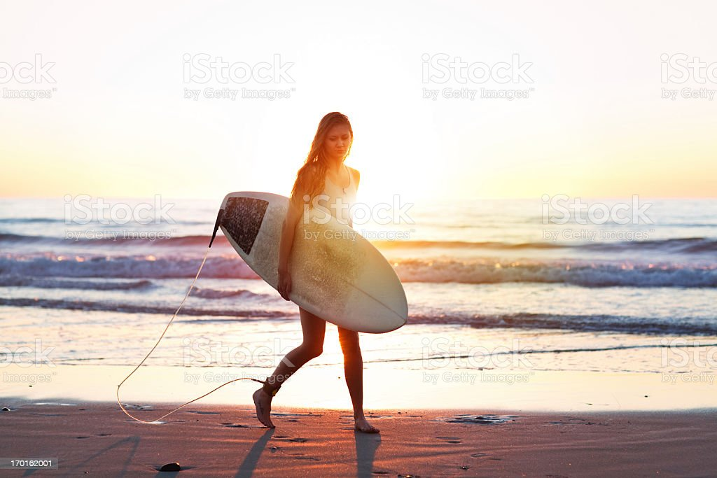 surfer girl stock photo