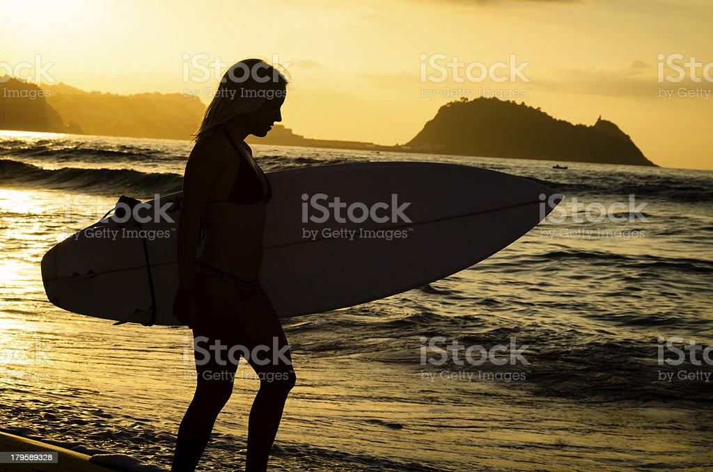 Surfer Girl Sunset royalty-free stock photo