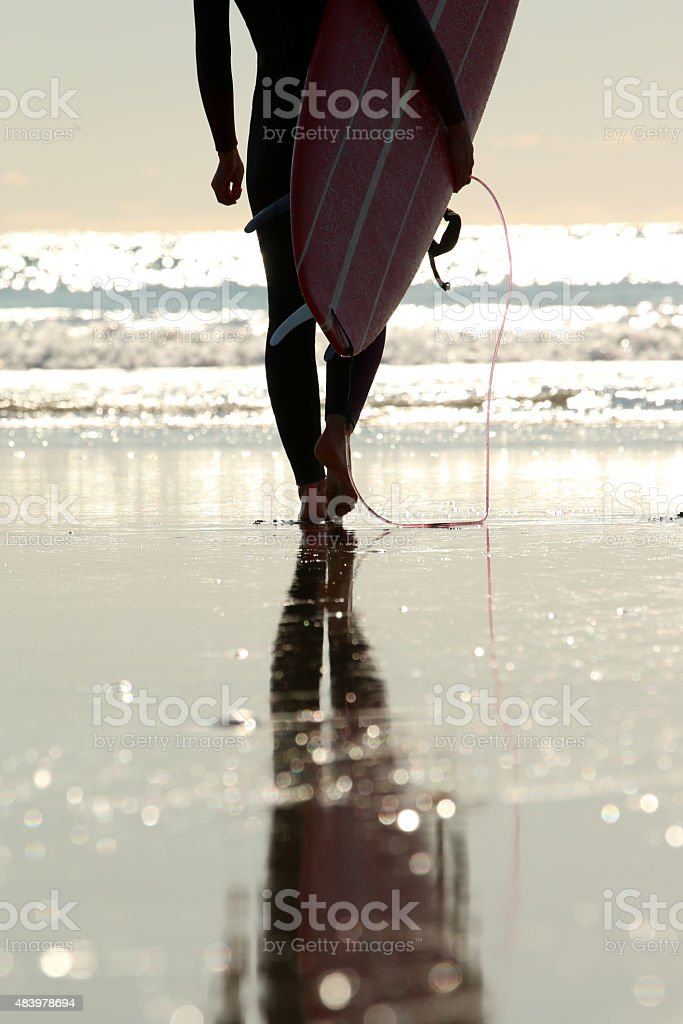 Surfer girl walking on the beach stock photo