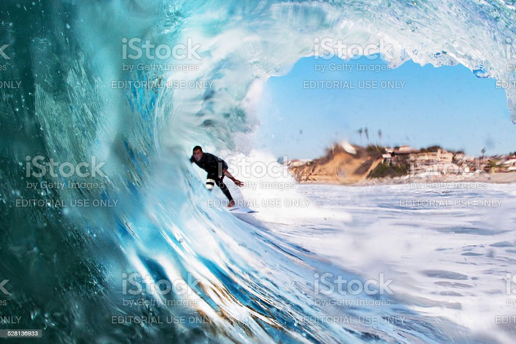 Surfer in a Barrel stock photo