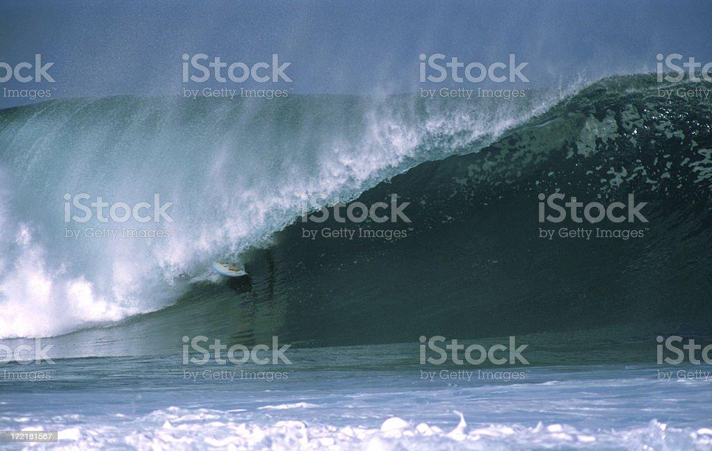 Surfer in barrel, Hawaii royalty-free stock photo