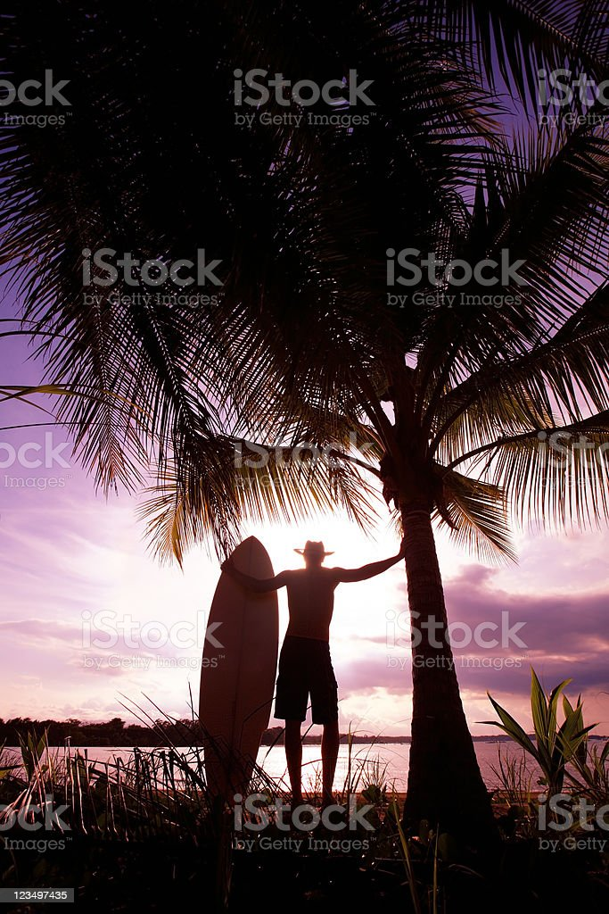Surfer in Costa Rica at Sunset royalty-free stock photo
