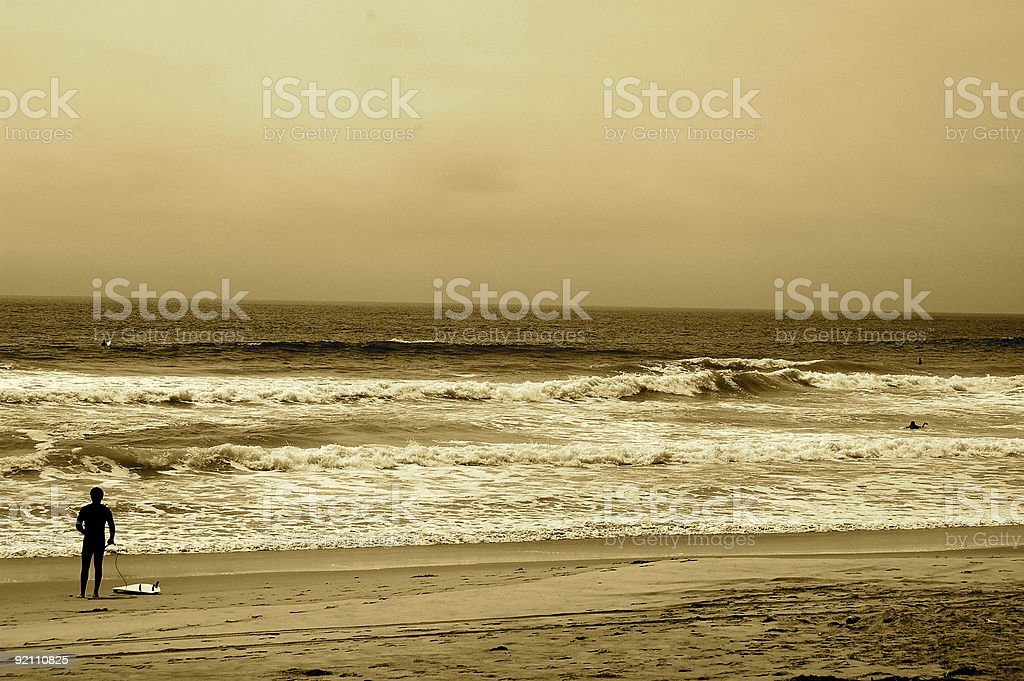 Surfer in Sepia royalty-free stock photo