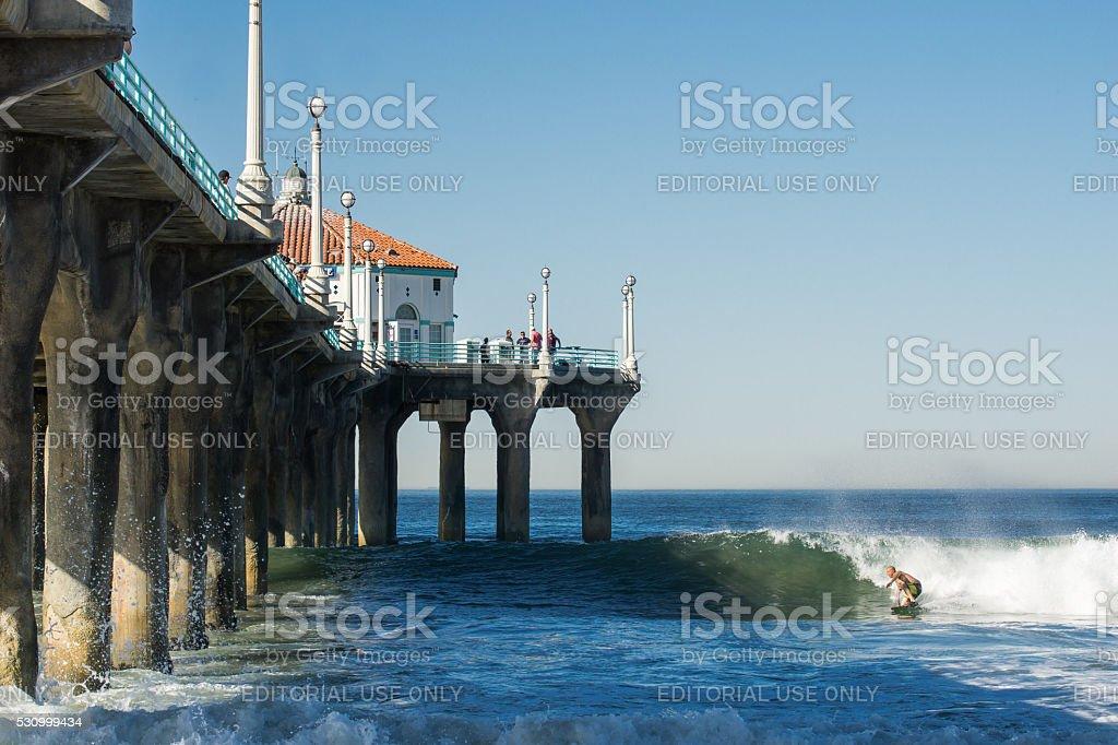 Surfer in wave heads into Manhattan Pier shadow stock photo
