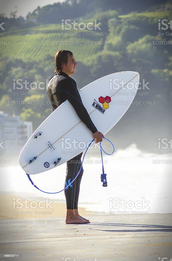 Surfer in Zarautz,Spain stock photo