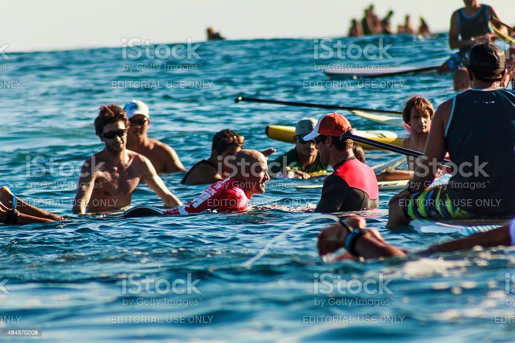 Surfer Kelly Slater Meeting Fans in  2014 Billabong Pro Tahiti stock photo