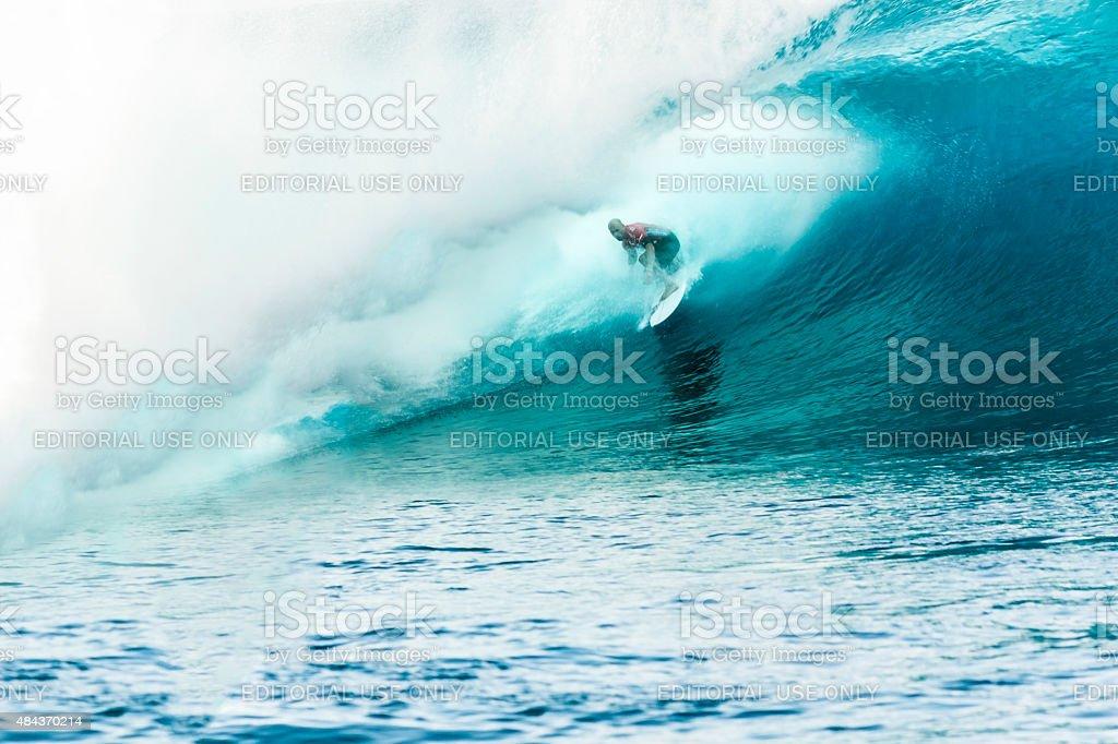 Surfer Kelly Slater Surfing 2014 Billabong Pro Tahiti stock photo