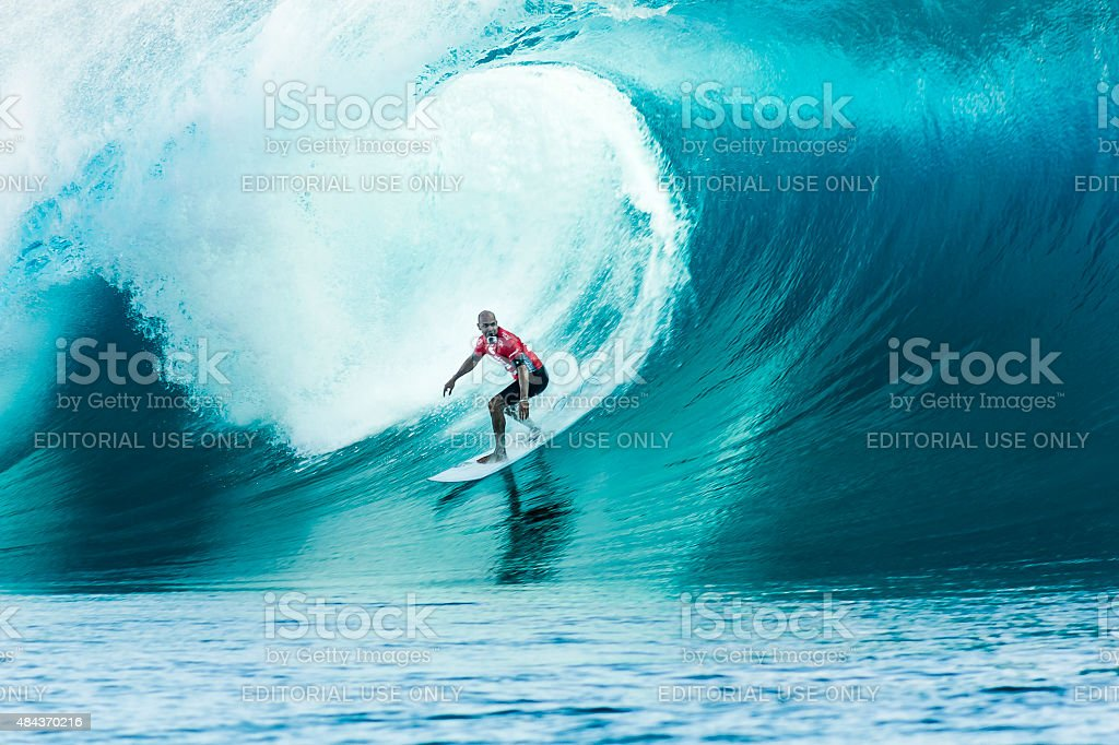Surfer Kelly Slater Surfing 2014 Billabong Pro Tahiti stock photo
