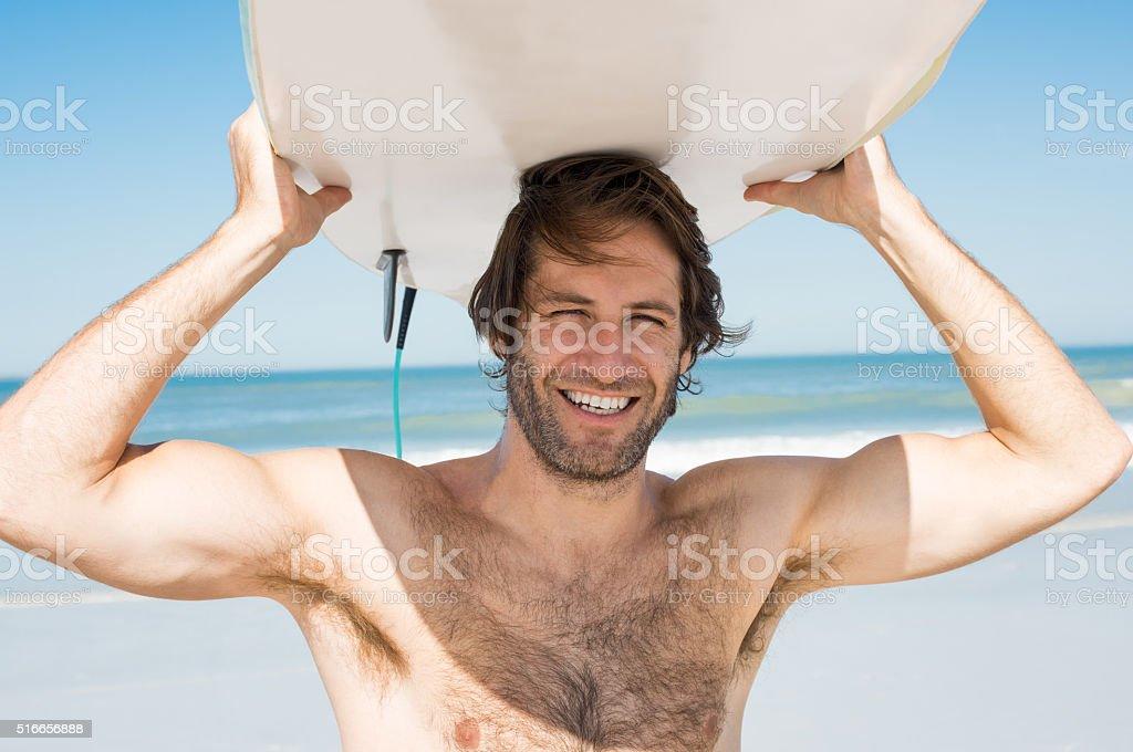 Surfer man stock photo
