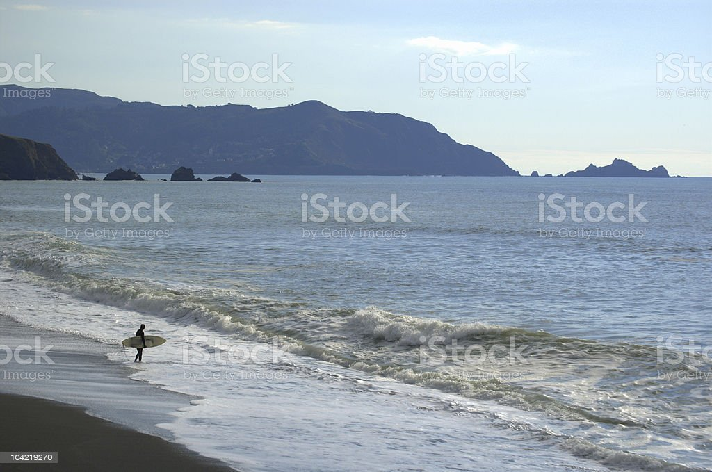 Surfer On Beach stock photo