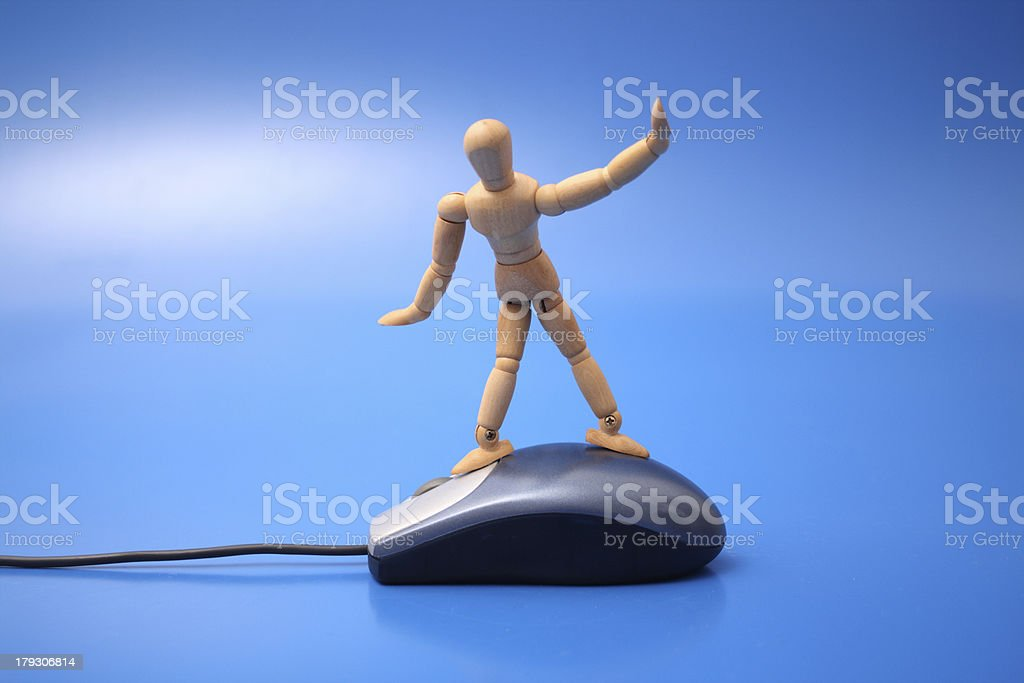 Surfer on mouse royalty-free stock photo