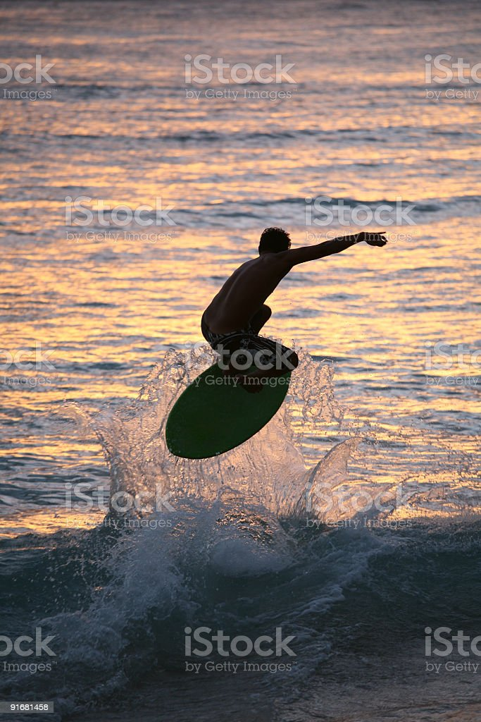 Surfer on the Waikiki beach royalty-free stock photo