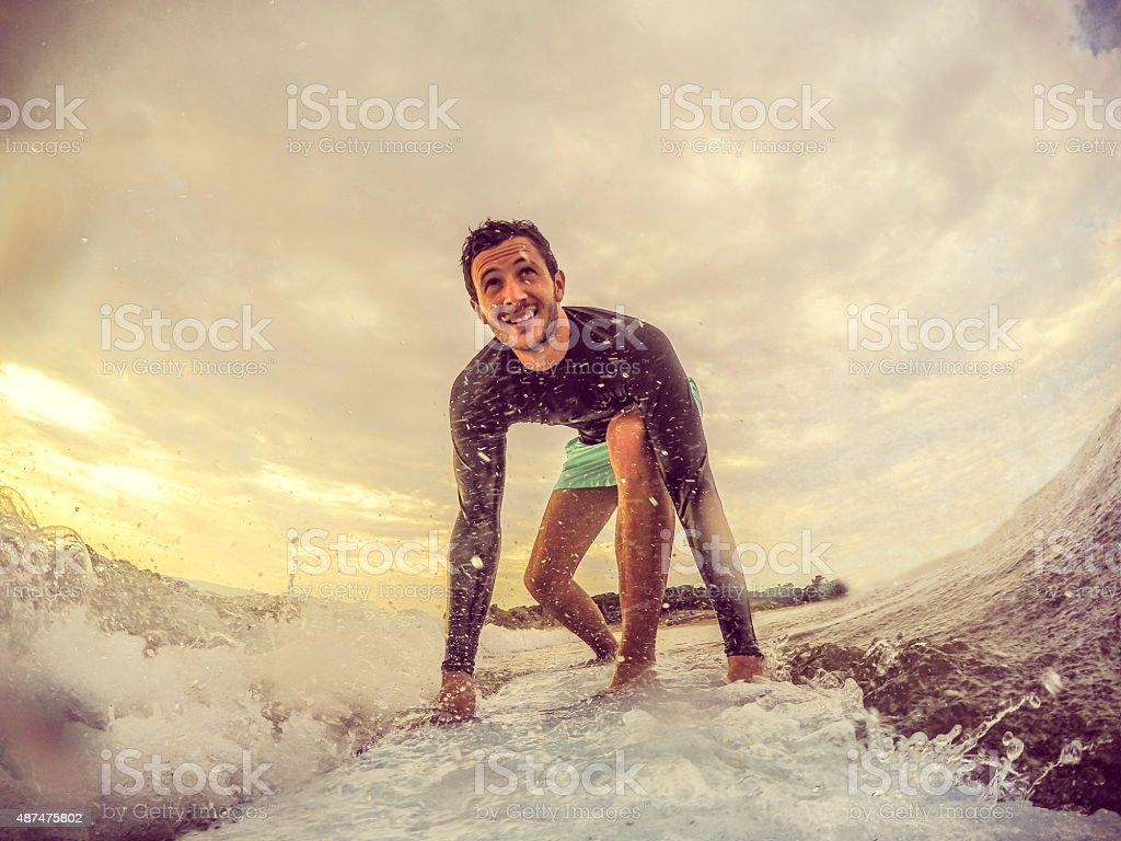 Surfer on the wave stock photo