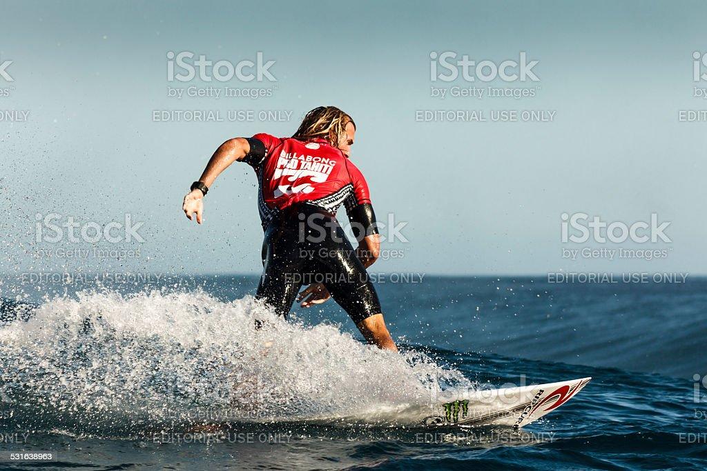 Surfer Owen Wright Surfing 2014 Billabong Pro Tahiti stock photo