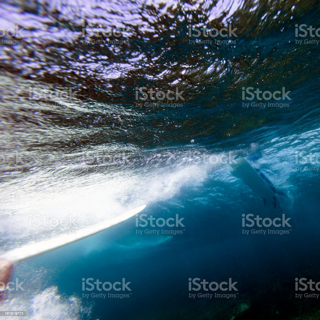 Surfer paddling a wave royalty-free stock photo