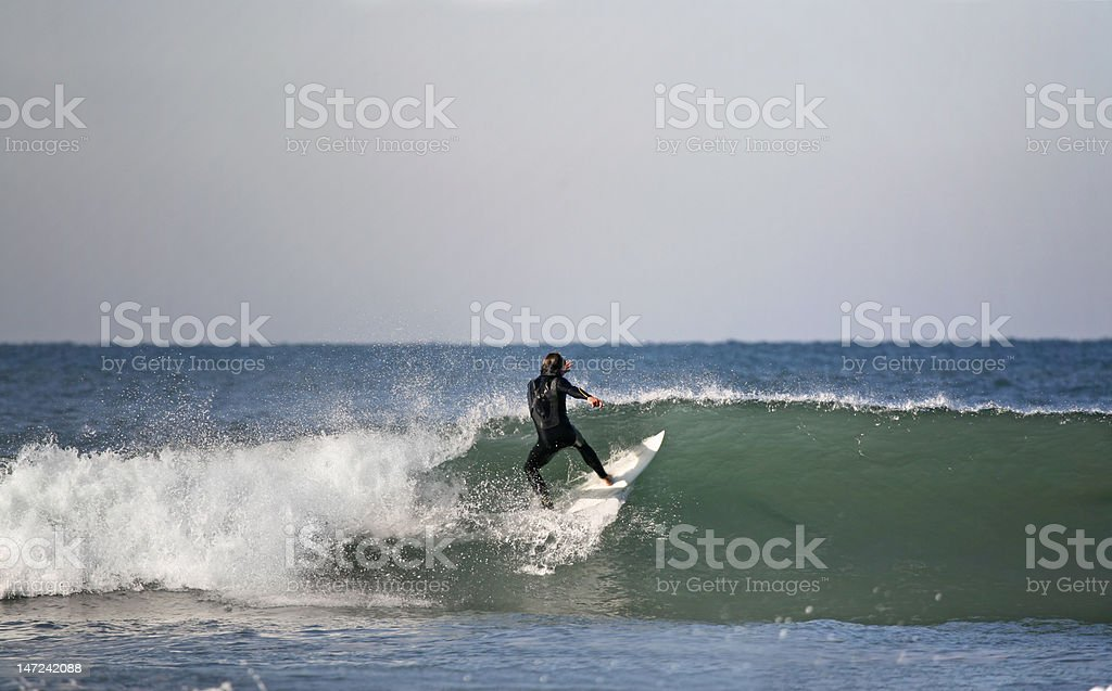 surfer preparing a floater royalty-free stock photo