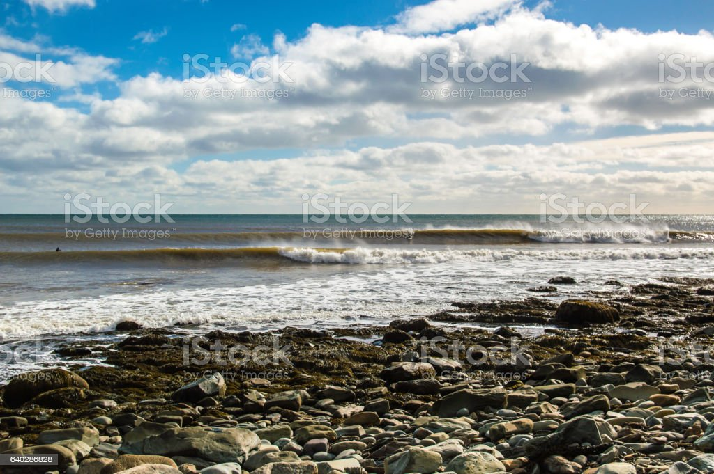 surfer surfs a perfect wave on a sunny day stock photo