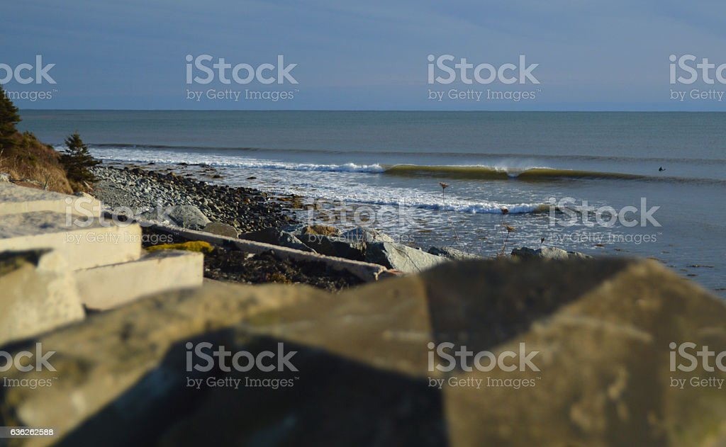 surfer waiting cold waves sunny day bohkeh stock photo