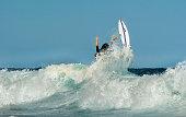 Surfer wiping out at Tamarama beach