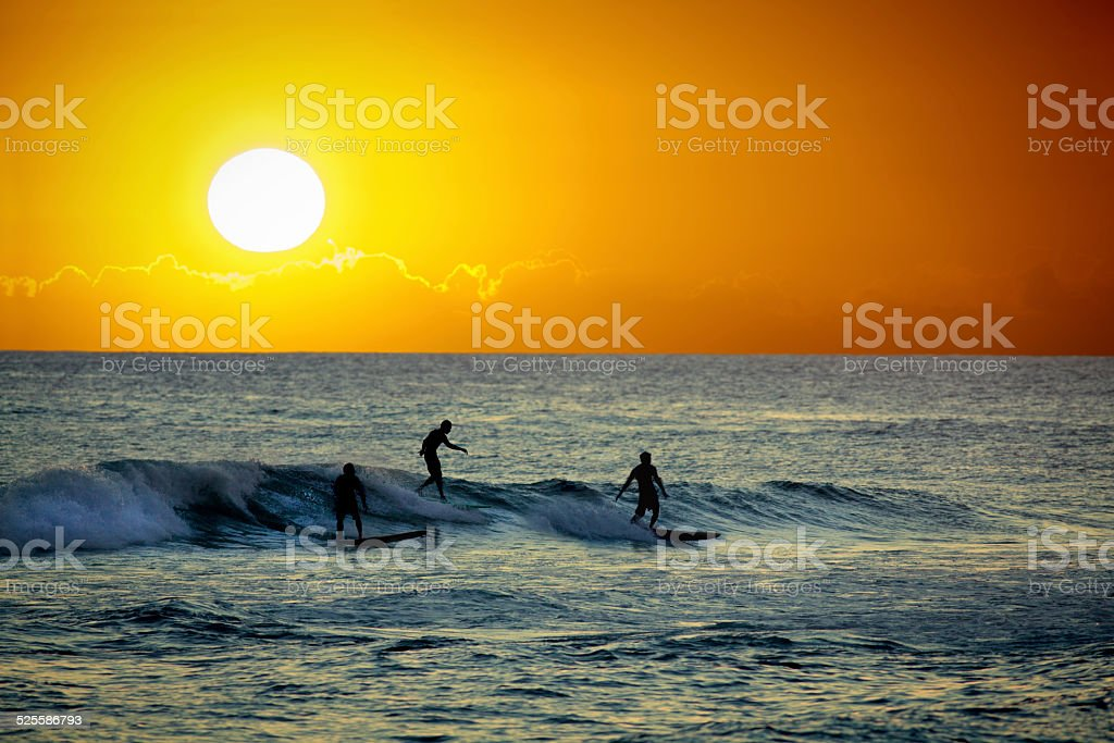 Surfers at Sunset in Poipu Beach of Kauai Hawaii stock photo