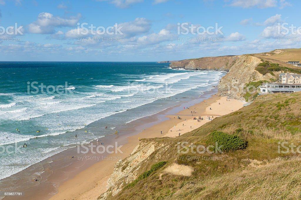 Surfers beach Watergate Bay Cornwall UK north coast near Newquay stock photo
