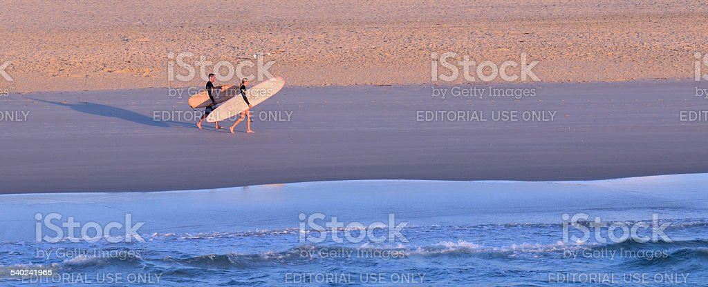 Surfers in Surfers Paradise Queensland Australia stock photo