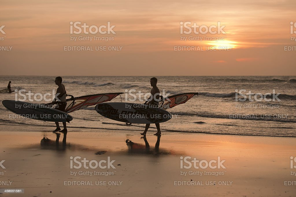 Surfers of Jericoacoara, Brazil stock photo