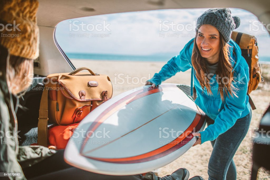 Surfers on the road trip stock photo