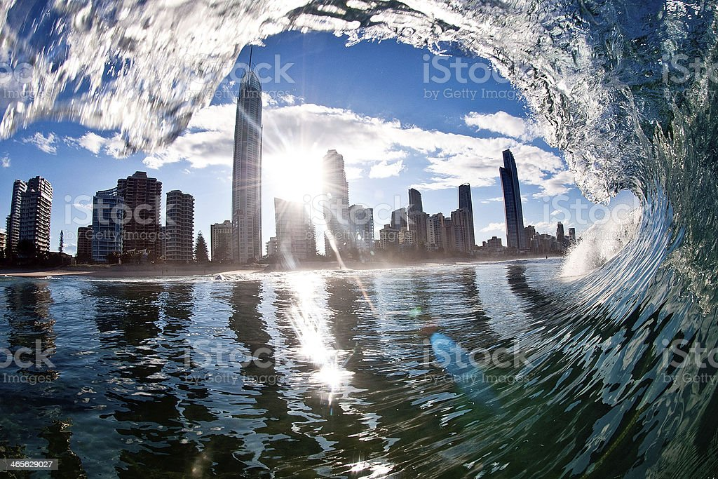 Surfer's Paradise beach on Queensland's Gold Coast stock photo