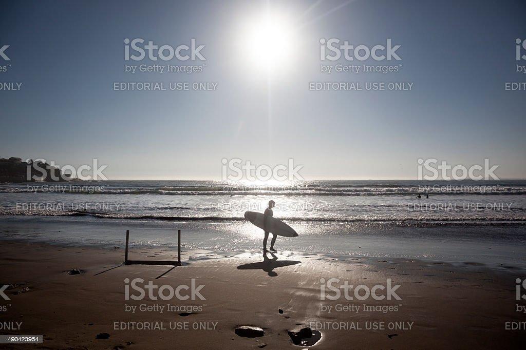 Surfers silhouette stock photo