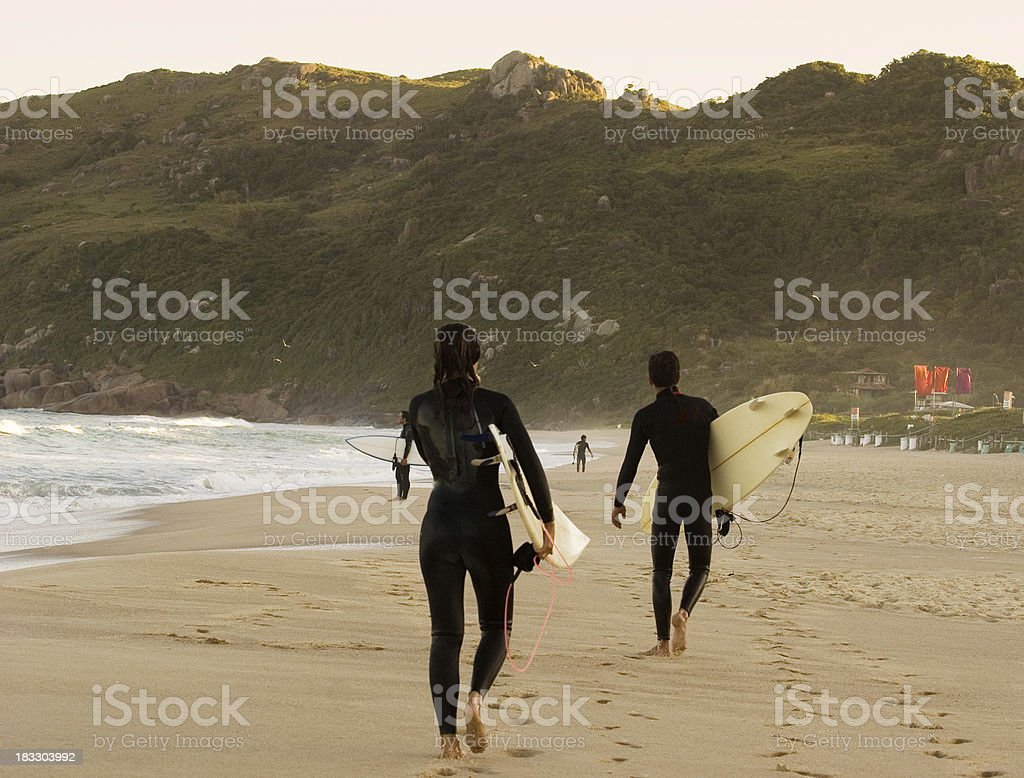 Surfers Walking on the Beach royalty-free stock photo