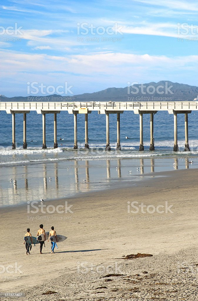 Surfers Walking Toward Scripps Pier in La Jolla, California stock photo