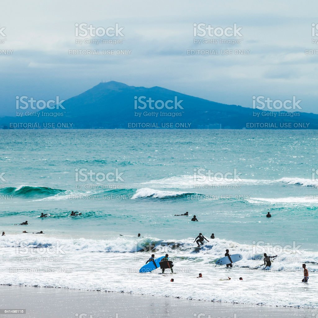 Surfing at Biarritz, France. stock photo