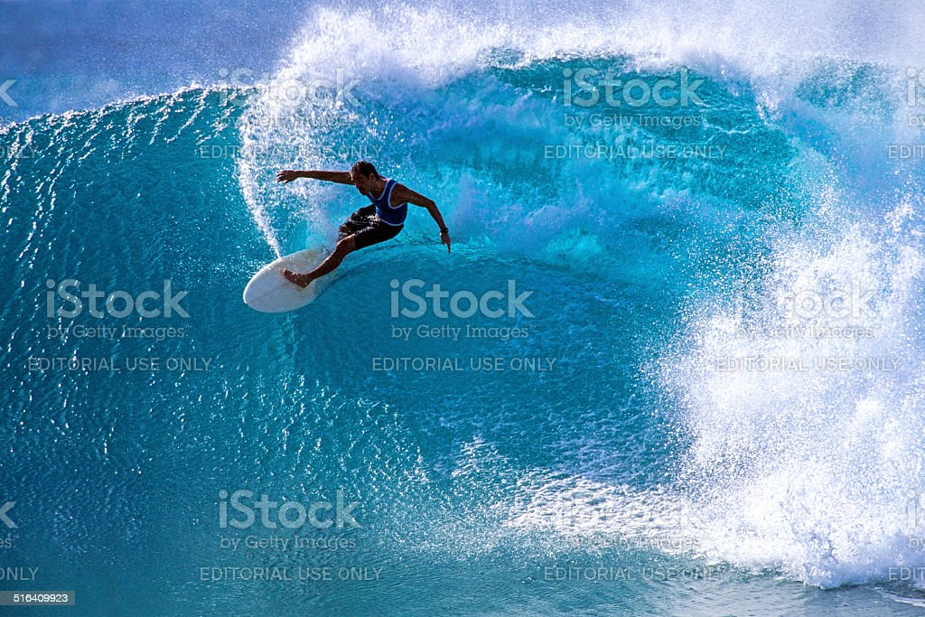 Surfing at Honolua Bay stock photo