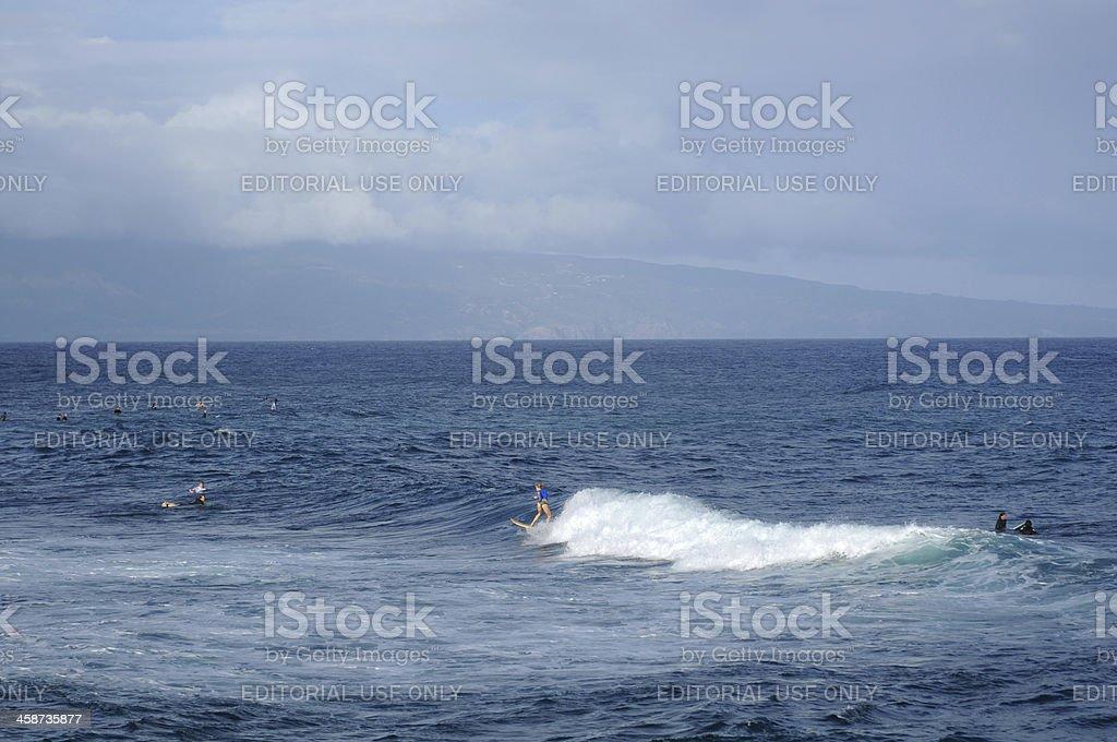 Surfing at Ho'okipa stock photo
