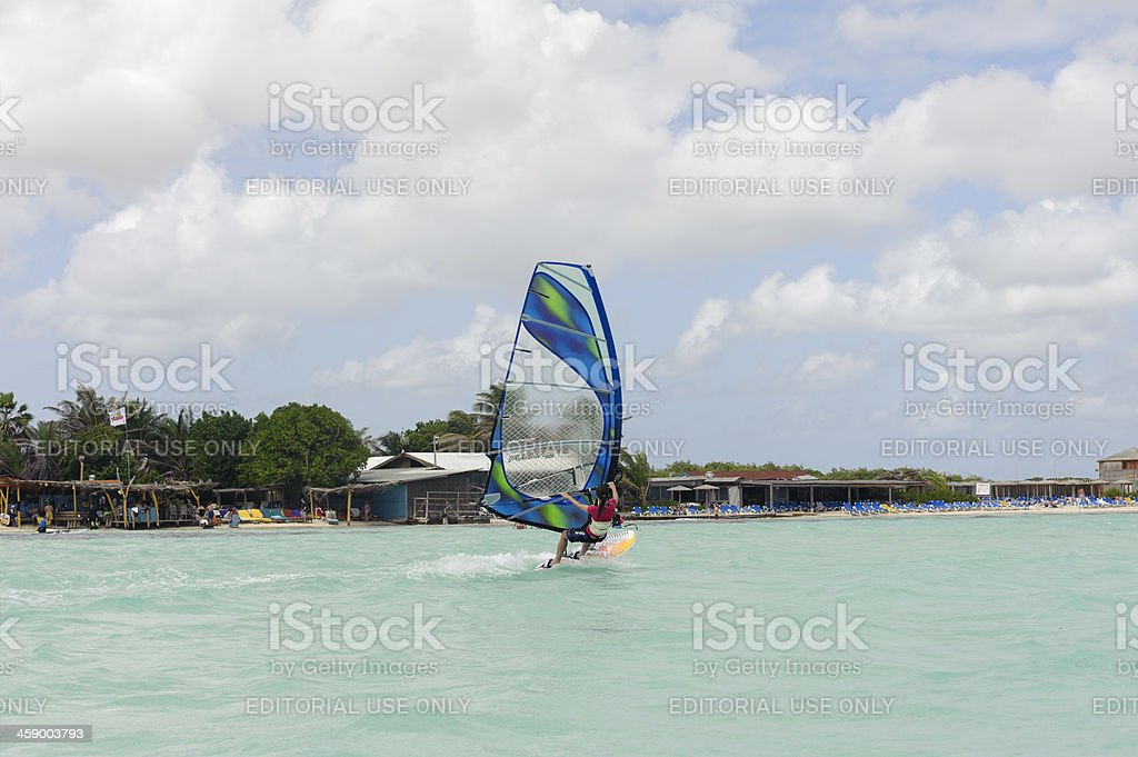 surfing at lac bay, sorobon, bonaire royalty-free stock photo
