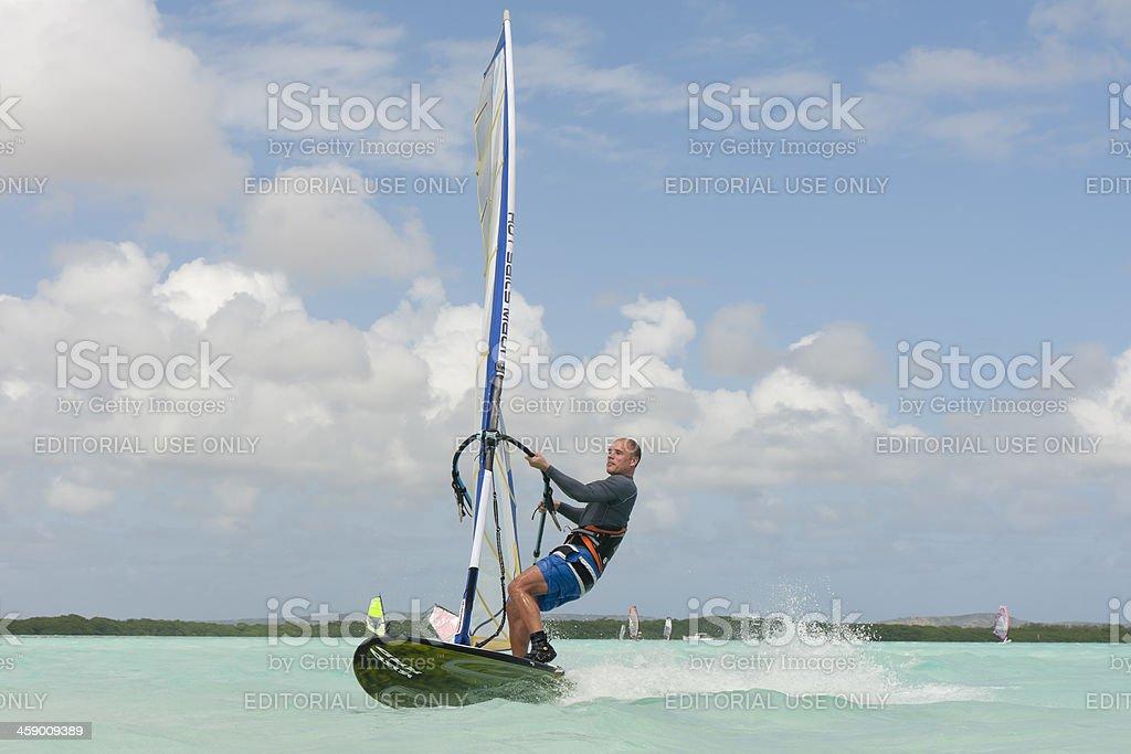surfing at lac bay, sorobon, bonaire royalty-free stock photo