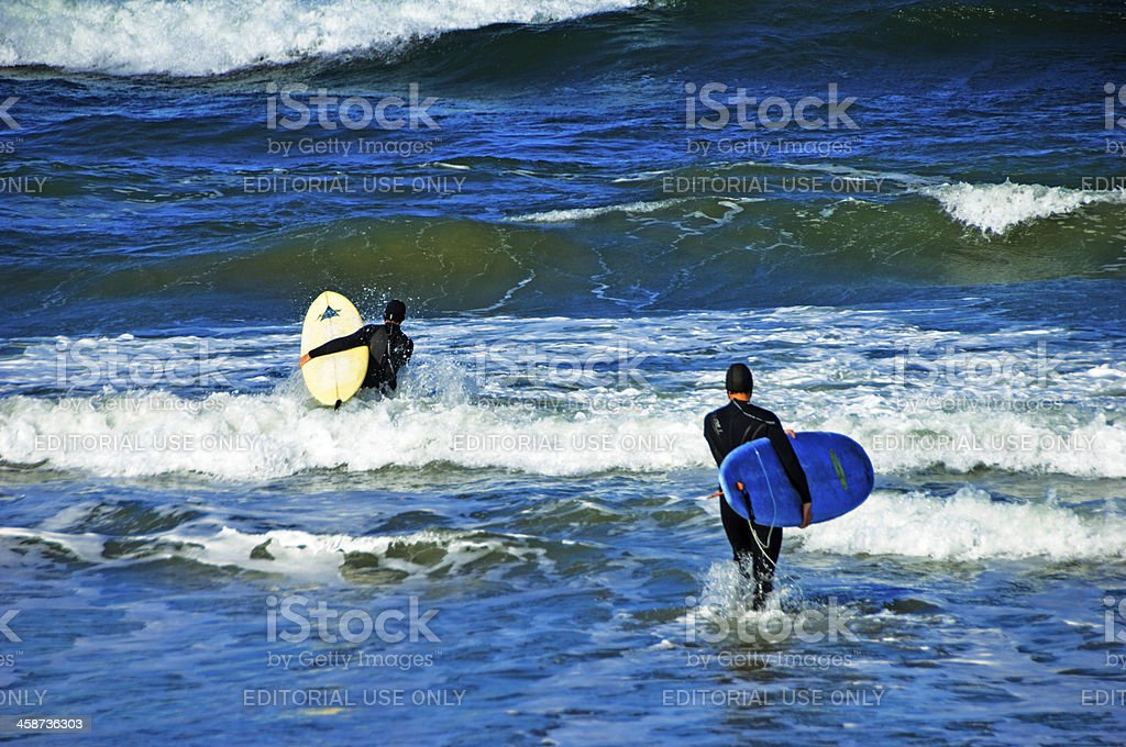 Surfing at Pacifica stock photo
