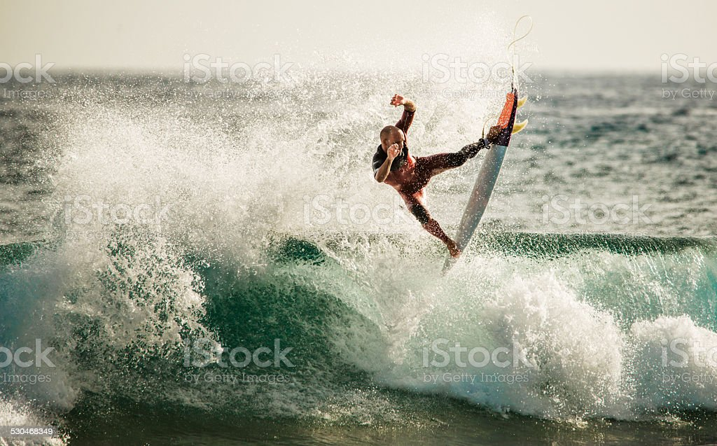 Surfing at sea. stock photo