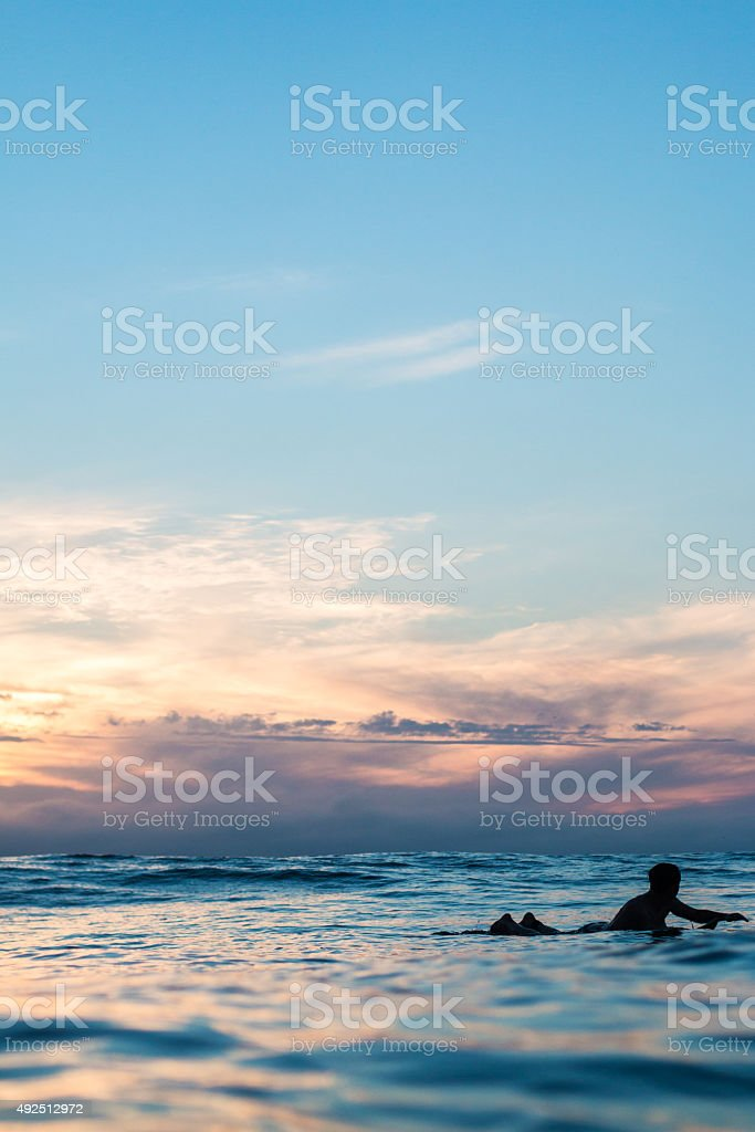 Surfing at Sunset stock photo