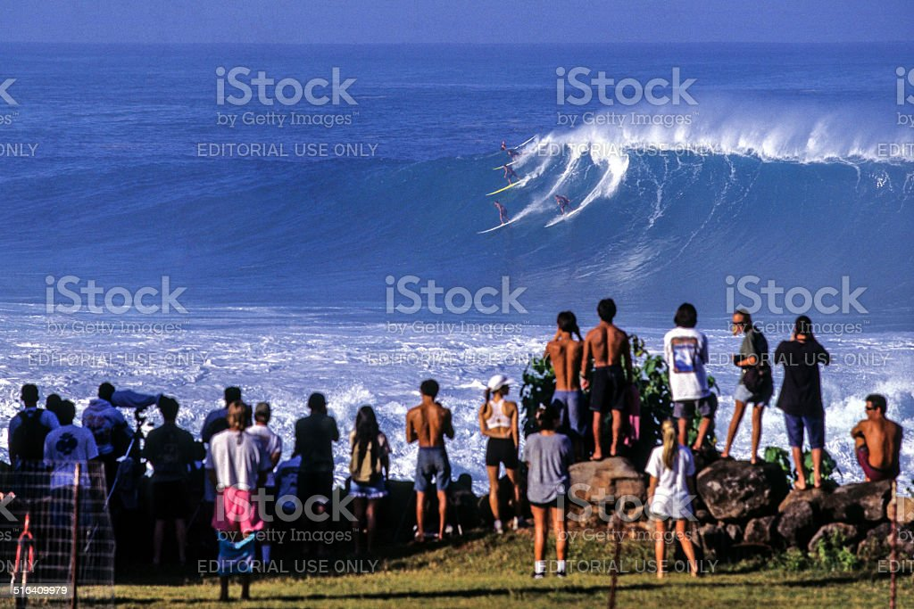 Surfing at Waimea Bay stock photo
