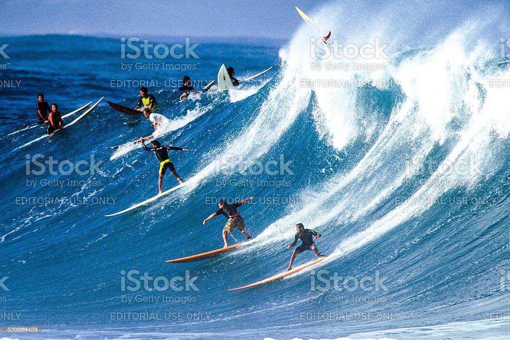 Surfing at Waimea Bay stock photo
