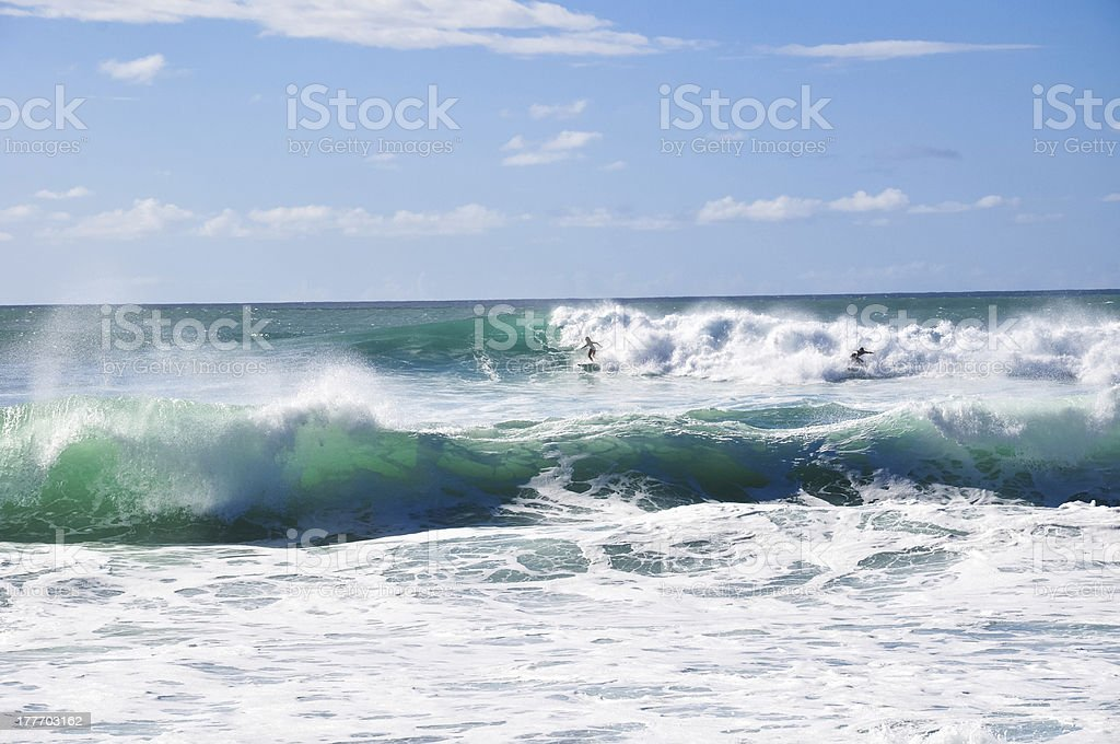 Surfing big waves - Sunset Beach, Oahu, Hawaii royalty-free stock photo
