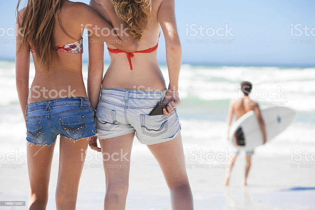 Surfing Girls stock photo
