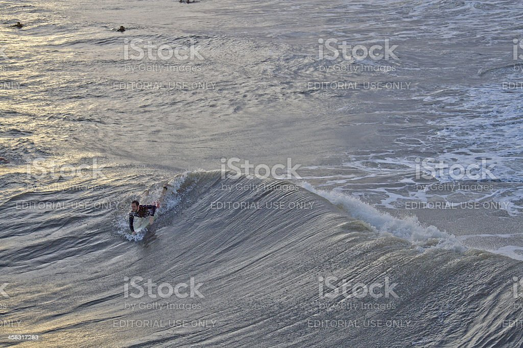 Surfing Hurricane Sandy Waves at Folly Beach, SC royalty-free stock photo