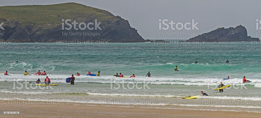Surfing in Newquay. stock photo