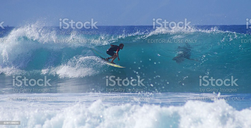 Surfing in Playa De Las Americas. stock photo